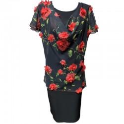 Рокля Карина с 3D рози