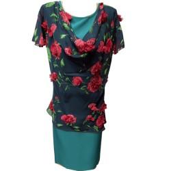 Рокля Карина с 3D рози -...