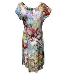 Разкроена рокля с цветя  K95