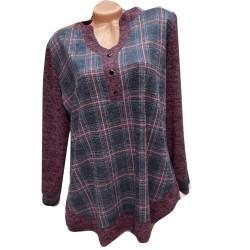 Стилна туника тип риза - бордо