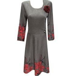 Стилна разкроена рокля Р16