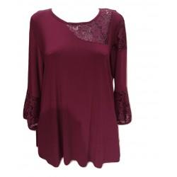 Блуза в бордо с дантела B130