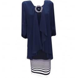 Елегантна рокля в синьо с...