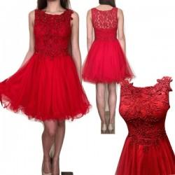 Бална рокля в червено с...